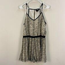 Urban Print Womens Large Romper Jumpsuit Tank Shorts Snake Print Gray Pleats F27