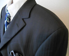 Hugo Boss 3 Button Blazer 100% Wool Brown Striped 46 R Super 100s Pocket Square