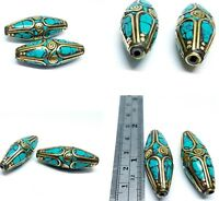 Nepalese Tibetan Collectable Huge Long Turquoise 2 Beads Beautifully Designed