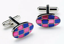 Mens Oval Blue Pink Checkered Cufflinks & Gift Box By Onyx Art