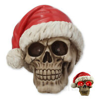SILENT NIGHT SKULL CHRISTMAS SANTA HOLIDAY FIGURINE GOTHIC ORNAMENT 15.5CM