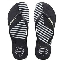 Havaianas woman lady girl slim black white stripes sandals thongs FlipFlops