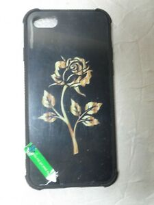 NEW CASE PHONE CASE FOR IPHONE 7G - BLACK W/GOLD ROSE  (BOX 1)