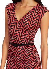 Ralph Lauren Red & Black Chevron Print Belted Surplice Dress Sz PM $150