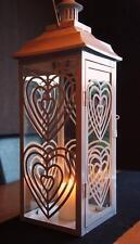 Metal & Glass White Love Heart Sweetie Lantern Home or Garden - 681