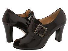 Taryn Rose CLARINA Brown Matte Patent Leather Open Toe High Heel Booties  41 EUR