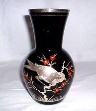 Silberoverlay Vase mit Emaillemalerei - Böhmen um 1930