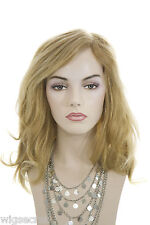 Strawberry Tipped Pale Blonde Blonde Long Human Hair Monofilament Hand Tied Wigs