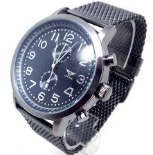 U435b Men Celebrity Style Wrist Watch Gun Metal Black Mesh Band Chronograph Dial