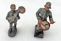 2 Soldaten Trommel und Blasinstrument LINEOL ELASTOLIN Massefigur 2. WK, II WK