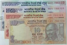 786 WITH FANCY NUMBER.***786123*** 10,20,50,100 RUPEES  4 U.N.C NOTES