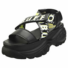 Buffalo Bo Womens Black Leather & Textile Platform Sandals