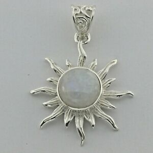 Genuine and Natural Rainbow Sun MOONSTONE Pendant 925 STERLING SILVER #259