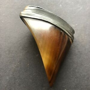 Antique hoof/ pewter snuff box, c1860/80