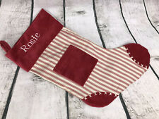 "POTTERY BARN Red Christmas Stocking With Pocket Striped Velvet Trim ""Rosie"""