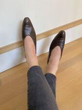 Vintage Robert Clergerie Size 7 Brown Leather Shoes Low Heel Designer 90s 1990s