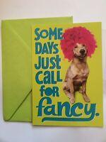 Funny Dog Birthday Card; Hallmark; Vtg, Made In USA; Clown Wig; Silly Style