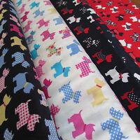 "44"" 100% cotton fabric - SCOTTY DOG - per 1/2 m for sewing & quilting"