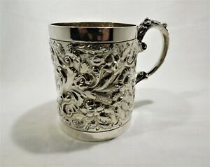 Antique sterling silver tankard/mug. c 1899 Walker & Hall Sheffield U.K.
