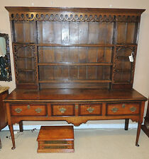 Large 18th Cent. Oak/Mahogany Queen Anne Welsh Cupboard Cabinet Breakfront Hutch