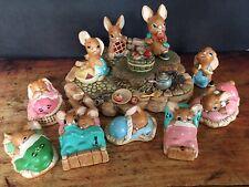 RARE Picnic Island + 10 Pendelfin Rabbit Collectibles Figures Bunny Easter Decor