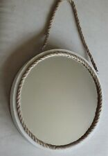 40cm Round Wall Mounted Nautical/Country/Shabby Chic Porthole Mirror: Cream