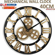 40CM Large Metal Roman Numeral Numerals Wall Clock Big Round Open Face Garden UK