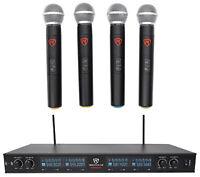 Rockville RWM90U Quad UHF Handheld Wireless Microphone System w/LCD+Metal Casing