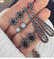 4 Pairs Boho Crystal Water Drop Dangle  Earrings For Women Stud Jewelry Set