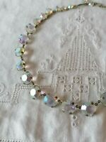 Antique Art Deco Aurora Borealis Open Back Crystal Bezel Choker Riviere necklace