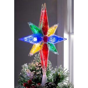 North Star Christmas Tree Topper Decoration Multi-Colour LED Lights 27cm