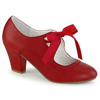 Pin Up Couture WIGGLE-32 Women's Sexy Red Faux Leather Cuben Heel Mary Jane Pump