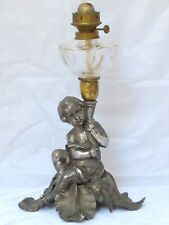 Superb Antique French Oil Lamp Figural Cherub Complete 19TH Silverplated
