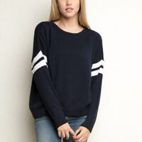 BRANDY MELVILLE womens one size navy white striped crew neck oversize sweater