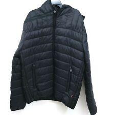 New Levi's Size Medium Mens Solid Black Puffer Zip Up Winter Jacket Coat