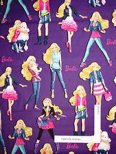 Mattel BARBIE Fabric - Barbie Doll Poodle Fashion Model Poses on Purple - YARD