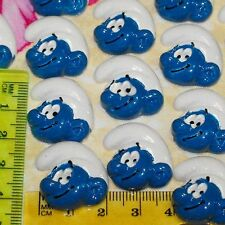 6x Smurfs Boy Blue White Kawaii Flatback Scrapbooking Resin Flat Backs DIY Craft