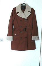 "ATMOSPHERE Size 10 Lgth 33"" MINI TRENCH COAT LINED & FAUX FLEECE COLLAR & CUFFS"