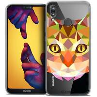 "Coque Housse Etui Pour Huawei P20 LITE (5.84"") Polygon Animal Souple Fin Chat"