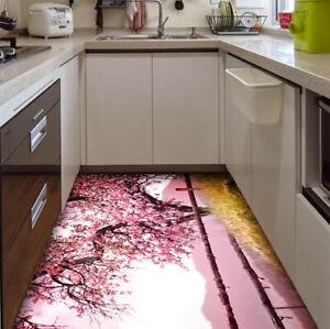 Pink cherry Blossom Self-adhesive Kitchen Floor Mat Bathroom Floor Stickers Rug