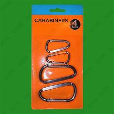 4 Pc Aluminum Carabiner D-Ring KeyChain Clip Snap Hook Karabiner Camping Outdoor