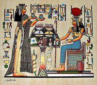 "Egyptian Hand-painted Papyrus Art: Nefertari Offering Nu-Pots to Hathor 13x9"""