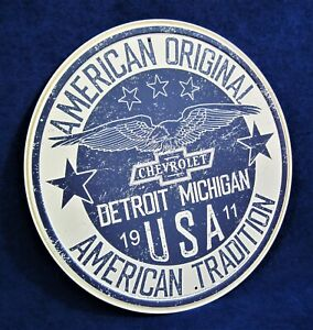 CHEVROLET American Tradition  - Round Metal Tin Sign - Man Cave Garage Bar Décor