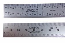 "PEC USA Machinist Ruler 300 mm 12"" Metric English E/M Rigid .5mm, mm, 1/31, 1/64"