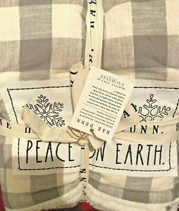RAE DUNN THROW BLANKET BUFALO GRAY WHITE CHECKED SHERPA CHRISTMAS PEACE ON EARTH