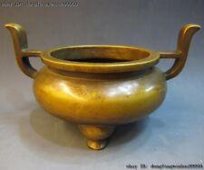 Chinese Buddhism Fane 100% purple Bronze Ming Dynasty Ding incense burner Censer