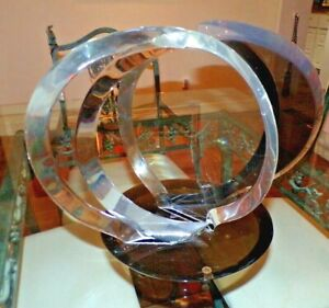 """Vintage 1970's VAN TEAL Signed Abstract Lucite Free Form Art Sculpture 18"""" x 14"""""""