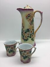 Vintage Limoges Chocolate Pot Set Cup hand painted Dogwood Floral