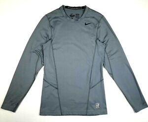 Nike Mens Shirt S Small Pro Combat Hyperwarm Fitted Dri Fit Long Sleeve Gray