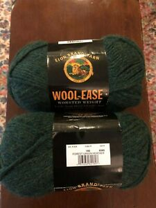 2 Skeins Lion Brand Wool Ease Worsted Weight Wool Blend Green